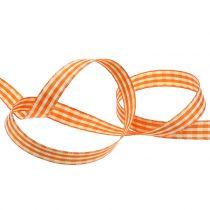 Geschenklint geruit oranje 15mm 20m