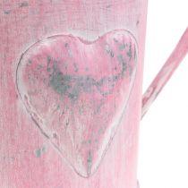 Gieter voor plantenbak met hart roze, wit gewassen Ø12.5cm H13cm
