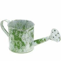 Planter gieter met vlinders gegalvaniseerd groen en wit H10cm