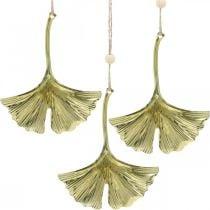 Ginkgo blad hanger, adventsdecoratie, metalen decoratie voor de herfst Gouden L12cm 12st