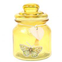 Glazen pot Bonboniere geel Ø11cm H15.5cm