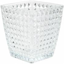 Glazen lantaarn kubus gefacetteerd patroon, tafeldecoratie, vaas van glas, glasdecoratie 2st