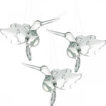 Glazen decoratie paradijsvogels, decoratie kolibrie, glazen hanger, vogeldecoratie 3st