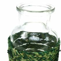 Glazen flesje met bast groen H10cm 4st