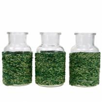 Glazen flesje met bast groen H12.5cm 3st