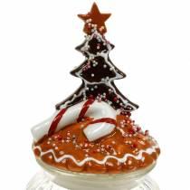 Glazen pot met keramische deksel peperkoek wit, bruin H21,5 cm koektrommel