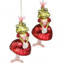Kikkerprinses, kerstboomversieringen, sprookjesversieringen, boomhangers, echt glas H14cm 2st