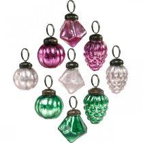 Glazen bol mix, diamant / bol / kegel van echt glas, antiek look Ø3–3.5cm H4.5–5.5cm 9st