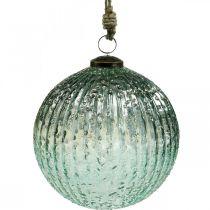 Glazen bol om op te hangen blauwe vintage kerstdecoratie glas Ø15cm