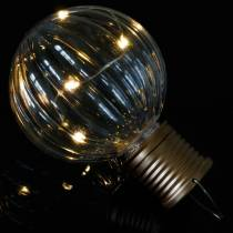 Solar LED lamp retro look transparant warm wit Ø8cm