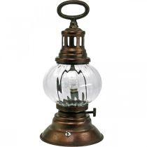 LED stormlantaarn, metalen lamp, decoratieve lamp, vintage look Ø12,5cm H30cm