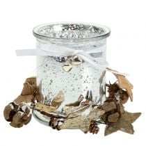 Theelichthouder glas met krans 10cm