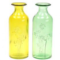 Glazen vaas fles geel, groen H19cm 2st