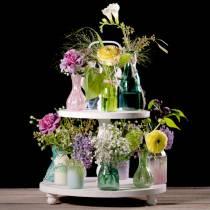 Glazen vaas boer zilver roze H11cm 6st