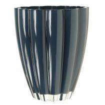 """Glazen vaas """"Bloom"""" donkerblauw Ø14cm H17cm"""