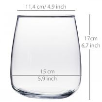 Glazen vaas, bloemenvaas, decoratieve vaas Ø15cm H17cm