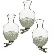 Glazen vaas met clip glitter en parels Ø4.9cm H9.5cm helder 3st