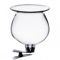 Glazen vaas bel met clip helder Ø5.5cm H6cm 4st