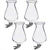 Glazen vaas tulp met clip Ø5.9cm H11cm helder 4st