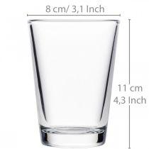 Glazen vaas helder Ø8cm H11cm voor tafeldecoratie