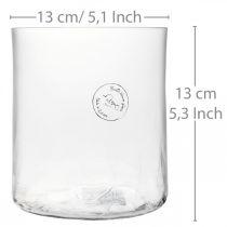 Cilindrische glazen vaas Crackle helder, gesatineerd Ø13cm H13,5cm