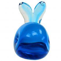 Glazen walvis blauw L12cm