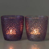 Glazen lantaarn paars Ø9cm H9cm 2st
