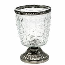 Glazen windlicht aan de basis antiek met metalen rand Ø9cm H13.5cm