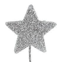 Glitter ster zilver 4cm op draad 60st