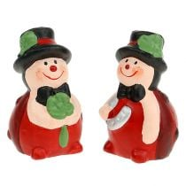 Lucky charm keramische kever 6cm rood 12st