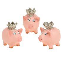 Geluksvarken roze met kroon 4cm 6st