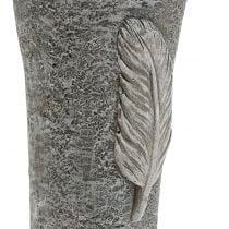 Grafvaas met veer grijs 25.5cm 2st