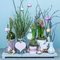 Hangende decoratie hart bloem vlinder wit, roze hout lente decoratie 6st