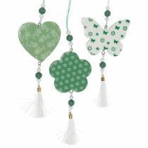 Hangende decoratie hart bloem vlinder wit, groen hout lente decoratie 6st