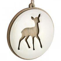 Hanger met hert, decoratie medaillon, houtdecoratie, Advent Ø9.5cm 6st