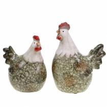 Sierfiguren kip en haan grijs, wit, rood 10,2cm x 7cm H12,7cm 2st