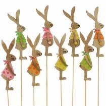 Pasen decoratie konijn met stok hout assorti naturel 11cm 16p