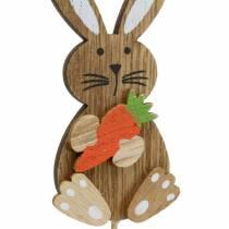 Pasen decoratie konijn met stok hout assorti naturel H8,5cm 16p