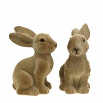 Paasdecoratie konijn zit gevlokt bruin H19cm 2st