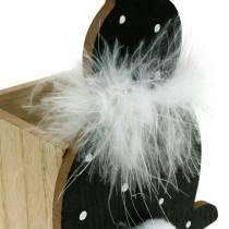 Bunny plantenbak veer boa zwart, wit gestippelde houten paashaas
