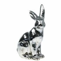 Haas zilver antiek H35cm Groot decoratief konijntje voor etalages