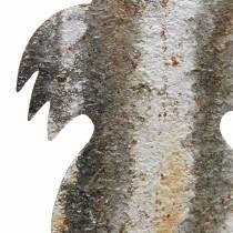 Pasen decoratie konijn om roest berken look metaal te plakken 16,5 × 32cm