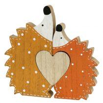Herfst decoratie egel paar met hart 15cm - 18cm