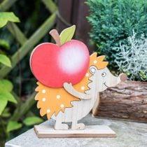Herfstbeeldje, egel met appel en paddestoel, houtdecoratie oranje/rood H24/23.5cm set van 2