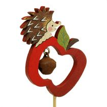 herfstdecoratie op stok Egel met appel 7cm 12st