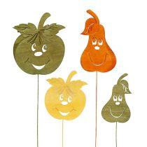 herfstdecoratie op stok appel, peer assorti L33cm 12 st