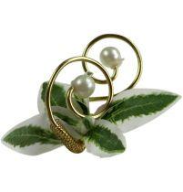 Bruiloftspeld met parels, goud 8cm 24st