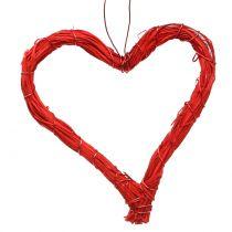 Raffia harten om rood op te hangen 10cm 12st