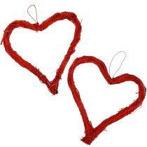 Raffia hart om rood op te hangen 15cm 8st