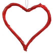 Raffia hart om op te hangen rood 20cm 6st